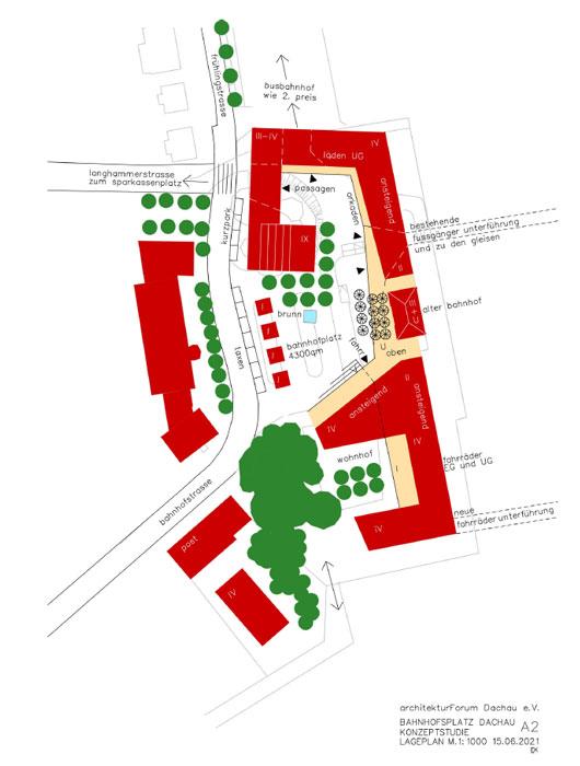 Konzeptstudie A2 Bahnhofsvorplatz Dachau ©Architektuforum Dachau 2021