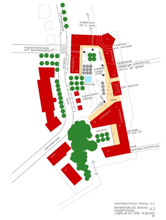Konzeptstudie A3 Bahnhofsvorplatz Dachau ©Architektuforum Dachau 2021