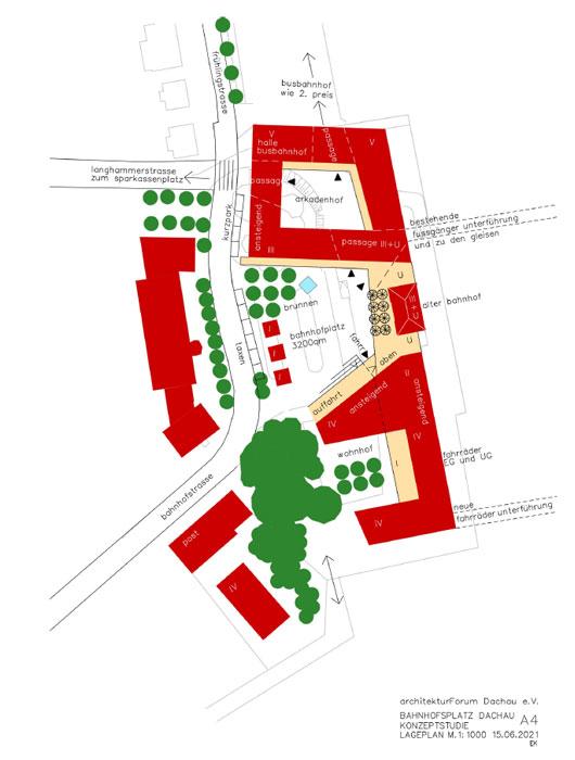 Konzeptstudie A4 Bahnhofsvorplatz Dachau ©Architektuforum Dachau 2021