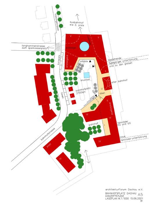 Konzeptstudie A5 Bahnhofsvorplatz Dachau ©Architektuforum Dachau 2021